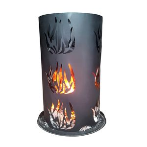 Feuersäule Feuerkorb Feuerstelle Terrassenofen inkl Feuerrost & Schürhaken H60cm