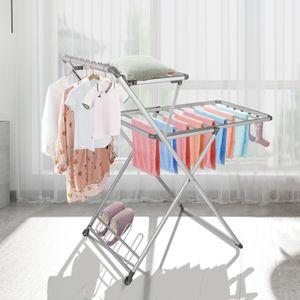 Bigzzia Ausziehbarer Wäscheständer, Faltbarer Wäschetrockner mit 2 Schichten , Wäscheständer, Kleiderturm , Installationsfrei