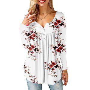 Damen Langarm Top Blumendruck Bluse T-Shirts,Weiß, 2XL.