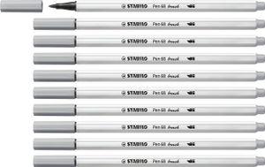 Premium-Filzstift mit Pinselspitze für variable Strichstärken - STABILO Pen 68 brush - 10er Pack - mittelgrau