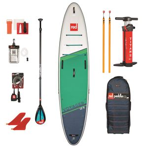 """Red Paddle Co SUP SET VOYAGER 12'6"""" x 32"""" x 6"""" MSL + Carbon 50-Nylon 3pc Paddel Cam Lock + Coiled Leash"""