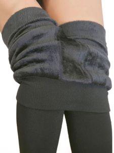 Plus Samt Fleece gefütterte Leggings für Frauen Stretchy Slim Skinny Thermal Leggings Enge Hose,Farbe: Grau,Größe:F