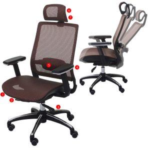 Bürostuhl HWC-A20, Schreibtischstuhl, ergonomisch Kopfstütze Stoff/Textil ISO9001  mandarin