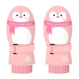 Nette Kinder Kinder Winter wasserdicht Dick Warm Schnee Ski Snowboardhandschuhe, Pink Penguin *