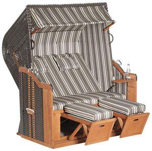 Rustikal Strandkorb 250 Plus 2-Sitzer XL, Halblieger Ostseeform, Geflecht 1204, Strukturpolyester gestreift, Fichtenholz lasiert, ca.145x90x160cm