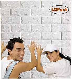 3D selbstklebende Tapete, wasserdichte Tapete in Steinoptik, für Bad und Schlafzimmer, 35 x 38,5 cm (10 Stück, weiß)