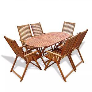 Huicheng 7-tlg. Garten Essgruppe Sitzgruppe Sitzgarnitur mit Klappbar Gartentisch und 6 Klappstühle 5 Positionen Verstellbar / Massivholz Akazie / VD26702_DE