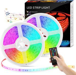 VADOOLL RGB Led Strip 10M, LED Streifen 300LEDs Sync mit Musik, Selbstklebende 5050 SMD LED Leiste Lichtband mit Fernbedienung für Schlafzimmer, TV, Party und Feriendekoration, Dimmbare LED Band