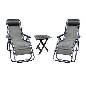 3er Relax Sessel + Beistelltisch Gartenmöbel Relaxstuhl Liegestuhl Klappstuhl