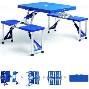 Deuba Alu Campingtisch mit 4 Stühlen klappbar Koffertisch Sonnenschirmhalter Tragegriff Campingmöbel Set