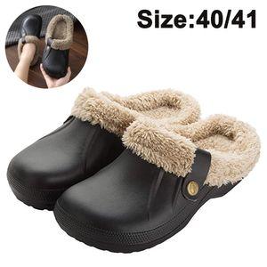 Damen Clogs Gefüttert Herren Winter Hausschuhe Wasserdicht Warme Pantoffeln Plüsch Pantoletten rutschfeste Outdoor Winterschuhe