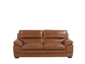 Sofa Braun Spaltleder 3-Sitzer Retro Wohnzimmer