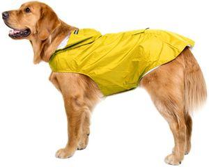 Hunde Regenmantel Wasserdicht Hundemantel Groß Gefüttert Ultraleichte Atmungsaktive Hundejacke Reflexstreifen Regenjacke Hunde Mit Kapuze 4XL Gelb