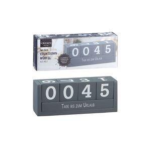 Holz Countdown Würfel grau 8 Texte Deko Holzwürfel Würfelkalender Dauerkalender