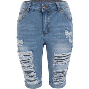 Frauen Elastic Destroyed Hole Leggings Kurze Hosen Jeansshorts Ripped Jeans Größe:M,Farbe:Dunkelblau