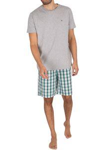 Tommy Hilfiger Herren Kurzes gewebtes Pyjama-Set, Grau M