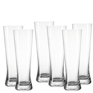 Leonardo Bionda Weizenbierglas 6er Set Weizen Bierglas Weißbierglas Glas 500 ml