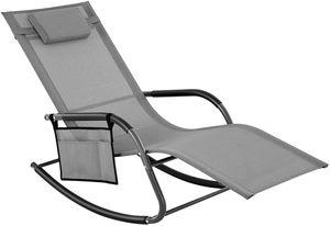SONGMICS Gartenstuhl mit Kopfstütze und Seitentasche | 63 x 147 x 89 cm Sonnenliege Schaukelstuhl Eisengestell atmungsaktiv bis 150 kg belastbar grau GCB23GY