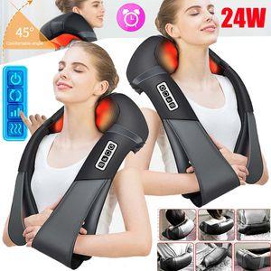 24W Massagegerät Shiatsu Nacken Rücken Elektrische Massage Vibration mit Wärmefunktion Heizfunktion Deep 4D Shiatsu Massager Kunstleder