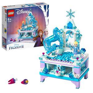 LEGO 41168 Disney Princess Frozen Die Eiskönigin 2 Elsas Schmuckkästchen mit Elsa Minipuppe und Nokk Figur, abschließbarer Schublade, Spiegel und Drehscheibenfunktion, Sammlerspielzeug für Kinder