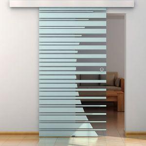 HOME DELUXE - Glasschiebetür 105 cm mit Streifendesign und Muschelgriff Schiebetür Glas