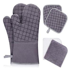 2er Set Ofenhandschuhe aus Baumwolle mit 2 Stk Topflappen Grau
