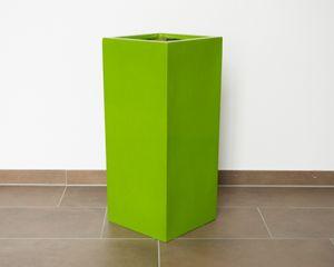 Pflanzkübel Fiberglas säule 38x38x70cm hochglanz avocado grün