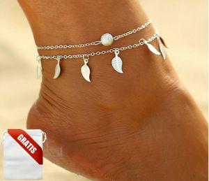 Fußkettchen Damen Silber Perle Federn Fußkette Fusskette Schmuck Geschenk Frauen