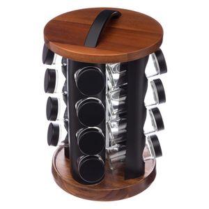 Gewürzständer aus Holz und Metall mit sechzehn Glasbehältern