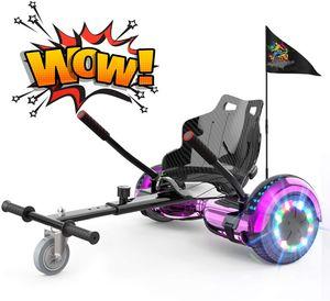 Hoverboard und Hoverkart Self-Balancing Scooter mit Sitz 6,5 Zoll Elektroroller Bluetooth Roller und LED Leutchten für Kinder