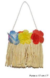Hawaii-Tasche mit Blumen und Bast ca. 17cm