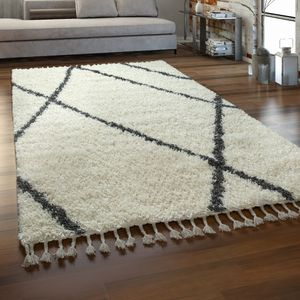 Hochflor Teppich Wohnzimmer Shaggy Skandinavischer Stil Mit Fransen Creme Grau, Grösse:160x220 cm