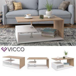 Vicco Couchtisch GUILLERMO in Weiß Sonoma Eiche - Wohnzimmer Sofatisch Kaffeetisch