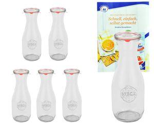 6er Set Weck Gläser 1062ml Saftflasche mit 6 Glasdeckeln, 6 Einkochringen und 12 Klammern
