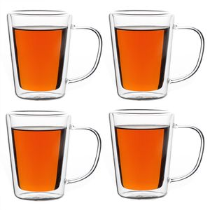 Monzana 4er Set Teegläser Thermogläser Glas mit Henkel doppelwandig 250 ml hitzebeständiges Borosilikatglas Kaffeetasse