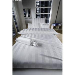Curt Bauer Mako-Brokat-Satin Bettwäsche Dessin 2044 Como, Weiß 240 x 220 + 2 x 80 x 80 cm