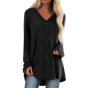 Damen V-Ausschnitt T-Shirt mittellanges Freizeithemd unregelmäßigen Rock,Farbe: schwarz,Größe:M