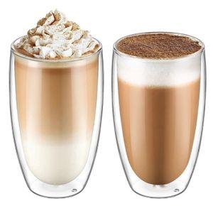 Latte Macchiato Thermogläser Set 2 x 450 ml | Set mit Schwebe-Effekt, auch für Tee, Eistee, Säfte, Wasser, Cola, Cocktails aus Borosilikatglas