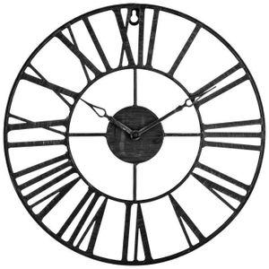 Wanduhr aus Metall VINTAGE, Ø 37 cm, Atmosphera, Farbe:schwarz