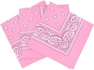 3 Stück Bandana Kopftuch Halstuch Nickituch Biker Tuch Motorad Tuch verschied. Farben Paisley Muster, Rosa