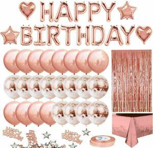 Melario Geburtstagsdeko Rosegold Set Happy Birthday Girlande Konfetti Ballons Tischdecke