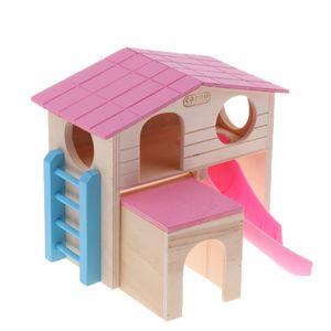 Hölzerne Rennmaus  Hamster Hideout 2 Schichten Mit Treppen Design   Maus Übung Sugar Glider Huts Syrian Hamster Cage Zubehör   Zufällige Farbe
