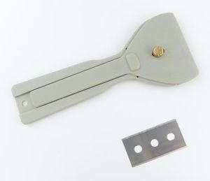 GRAU Kunststoff-Fensterschaber Glasschaber mit 2 Ersatzklingen Ceranfeldschaber Ceranschaber Kochfeldschaber Herdkratzer Herdschaber