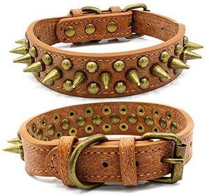 Hundehalsband mit Nieten, echtes Leder, für kleine, mittelgroße und große Hunde, braun m