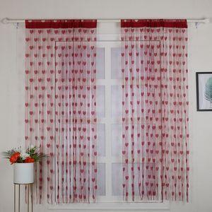 2 Stücke 100 * 200 cm Neuheit Herz Decor Fenster Zimmer Linie Vorhang Romantische String Quaste Tür Vorhang Teiler Raum Wanddekoration