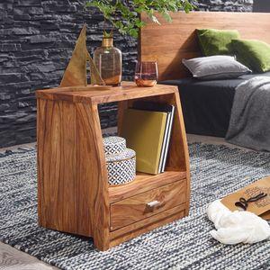 FineBuy Nachttisch Massiv-Holz Sheesham Nacht-Kommode 53 cm 1 Schublade Ablage Nachtschrank Landhaus-Stil Echt-Holz