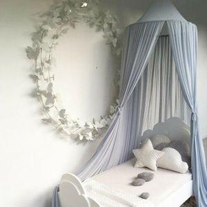 Grau Baby Baldachin Betthimmel Kinder Schlafzimmer Baumwolle Hängende Insektenschutz