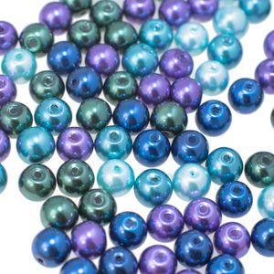 200 Glas-Perlen rund 6mm Fädelperlen Bastelperlen Glasperlen Farbmix, Farbe:Farbmix 4