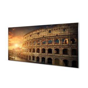Glasbilder 140x70 Wandkunst Rom Colosseum Sonnenuntergang