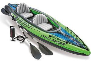Intex Schlauchboot Angelboot Kajak Challenger K2, Set inkl. Alu-Paddel und Pumpe, 351 x 76 x 38cm, 2 Personen, 68306